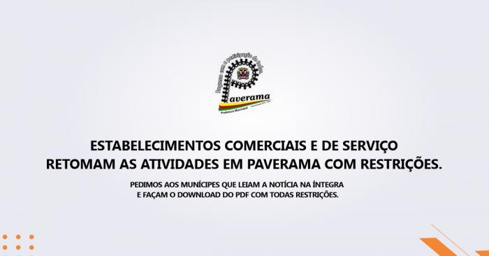 Estabelecimentos Comerciais e de Serviço retomam as atividades com restrições em Paverama