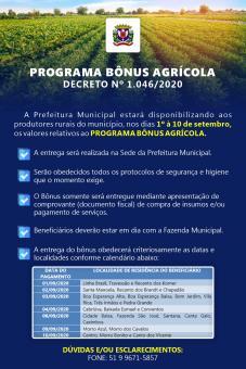 PROGRAMA BÔNUS AGRÍCOLA - DECRETO Nº 1.046/2020