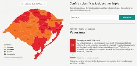 Bandeira vigente para Paverama será vermelha nesta semana, mas com flexibilizações em alguns setores