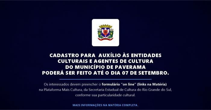 Cadastro para Auxílio às entidades culturais e agentes de cultura do município de Paverama
