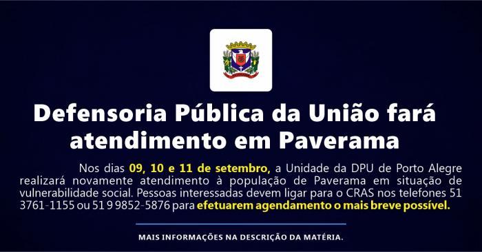 Defensoria Pública da União fará atendimento em Paverama