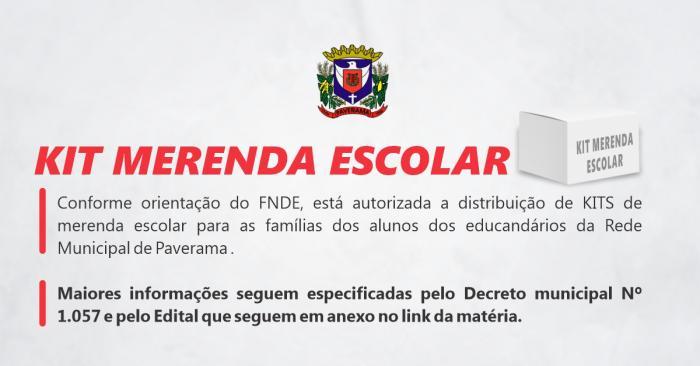 CADASTRAMENTO DO KIT DE MERENDA ESCOLAR