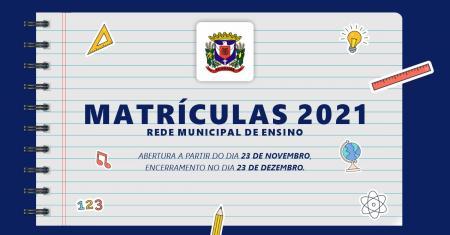 Matrículas 2021 - Rede Municipal de Ensino - Paverama