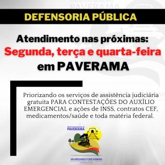 Defensoria Pública da União fará atendimento em Paverama na próxima semana